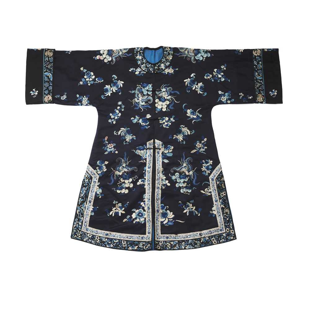Lot 19 - MIDNIGHT-BLUE-GROUND SILK EMBROIDERED LADY'S OVERCOAT