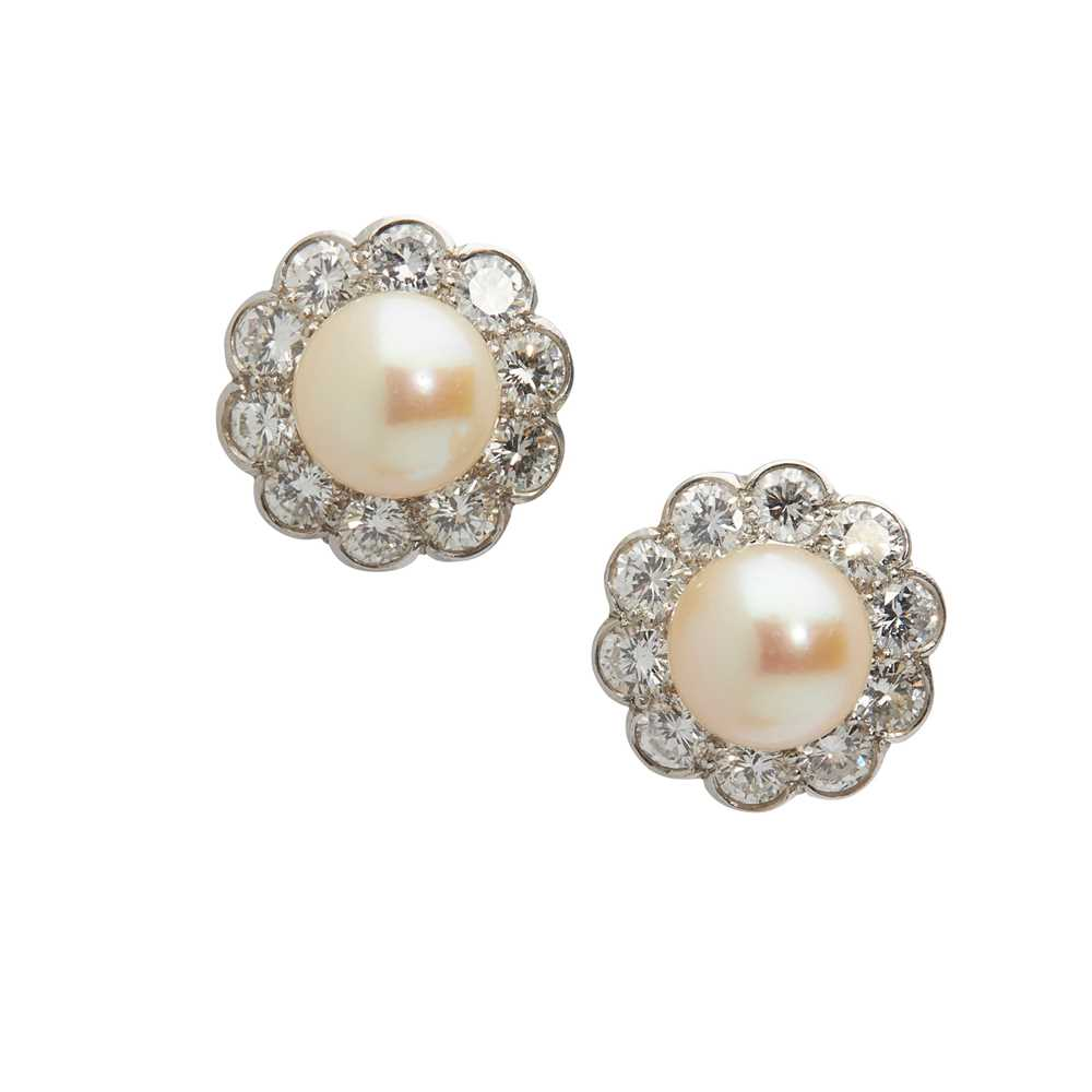 Lot 96 - A pair of pearl and diamond cluster earrings
