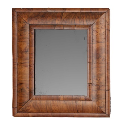 Lot 362 - WILLIAM AND MARY CUSHION MOULDED WALNUT MIRROR