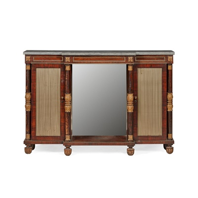 Lot 393 - REGENCY ROSEWOOD, SIMULATED ROSEWOOD, AND GREY MARBLE, PARCEL GILT CREDENZA