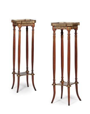Lot 391 - PAIR OF LOUIS XVI STYLE STAINED BEECH, MARBLE AND GILT METAL TORCHERE STANDS