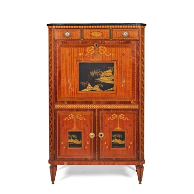 Lot 382 - DUTCH NEOCLASSICAL SATINWOOD, AMARANTH, MARQUETRY, AND JAPANNED FALL FRONT SECRETAIRE