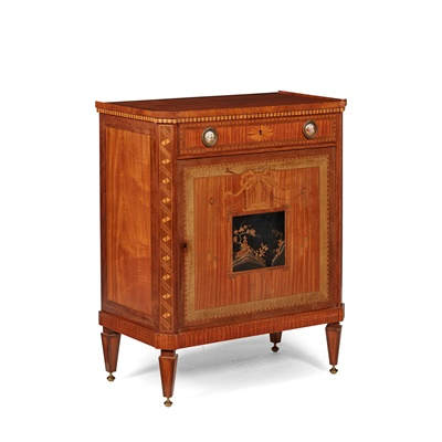 Lot 383 - DUTCH NEOCLASSICAL STYLE MAHOGANY, SATINWOOD, MARQUETRY AND LACQUER CABINET