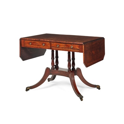 Lot 397 - REGENCY STYLE MAHOGANY CROSSBANDED SOFA TABLE