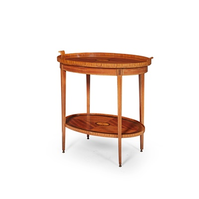 Lot 396 - SATINWOOD AND MAHOGANY INLAID TRAY-TOP OCCASIONAL TABLE
