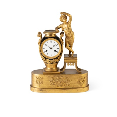 Lot 384 - FRENCH EMPIRE GILT AND PATINATED METAL FIGURAL MANTEL CLOCK