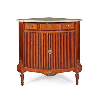 Lot 376 - DUTCH MAHOGANY AND FRUITWOOD MARBLE TOPPED TAMBOUR CORNER CABINET