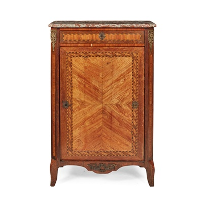 Lot 380 - DUTCH SMALL MARBLE TOPPED PARQUETRY SIDE CABINET