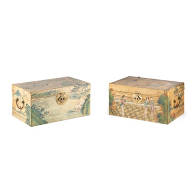 Lot 402 - TWO CHINESE PAINTED VELLUM CHESTS