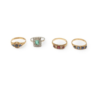 Lot 167 - A collection of four gem-set rings