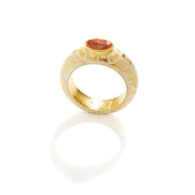 Lot 9 - A fire opal and enamel single-stone ring
