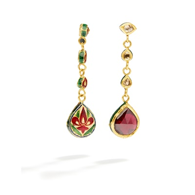 Lot 12 - A pair of Indian enamel and gem-set pendent earrings