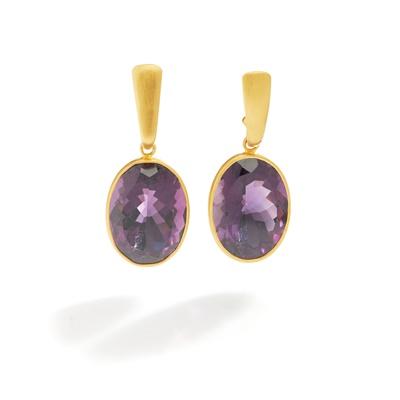 Lot 39 - A pair of amethyst earrings