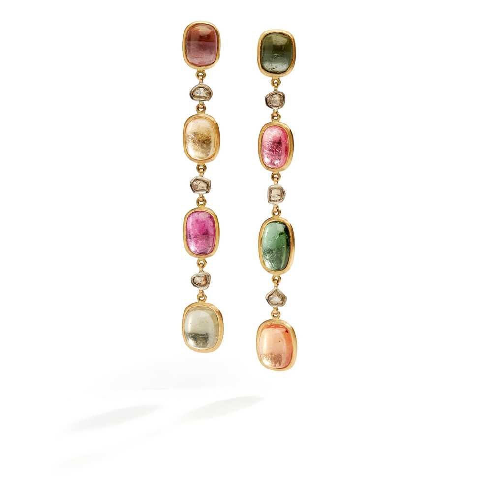 Lot 10 - A pair of tourmaline and diamond pendent earrings