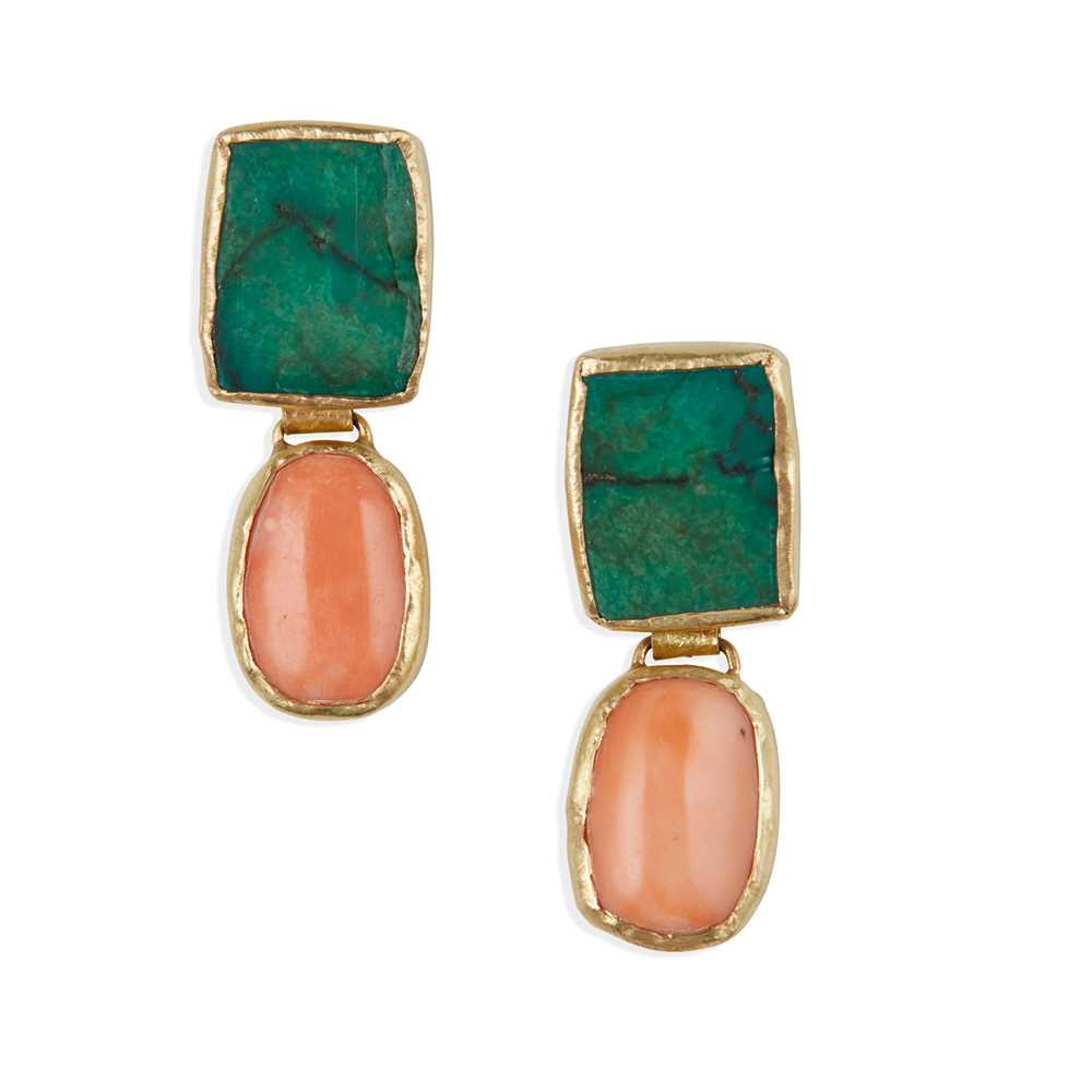 Lot 25 - A pair of coral and turquoise earrings