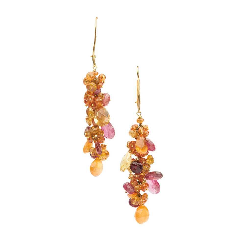 Lot 34 - A pair of garnet and tourmaline earrings