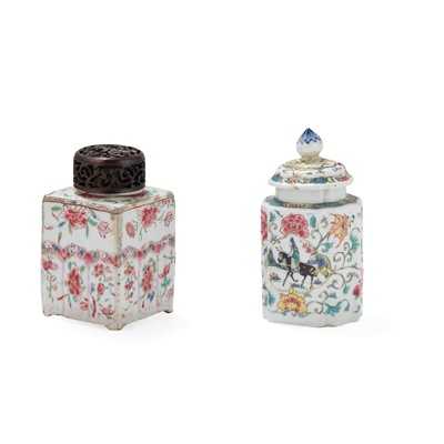 Lot 120 - (A PRIVATE ENGLISH COLLECTION, LOT 117-125) TWO FAMILLE ROSE TEA CANISTERS