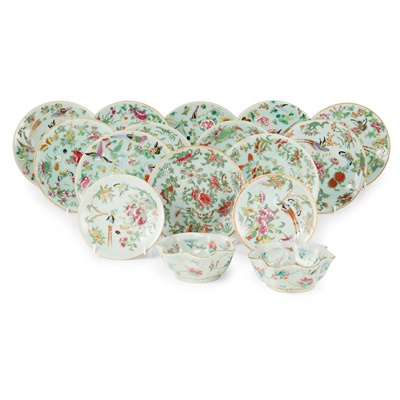 Lot 186 - GROUP OF SIXTEEN FAMILLE ROSE CELADON-GROUND WARES