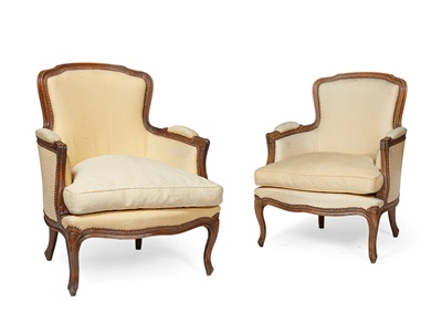 Lot 488 - PAIR OF FRENCH BEECH FRAMED BERGERES