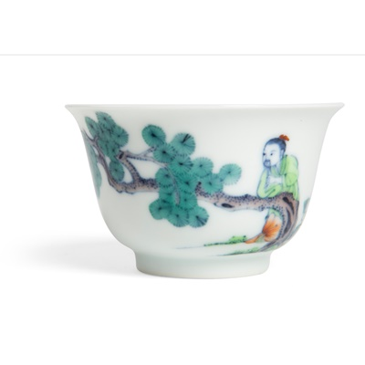 Lot 137 - DOUCAI 'SCHOLAR AND PINE TREE' CUP