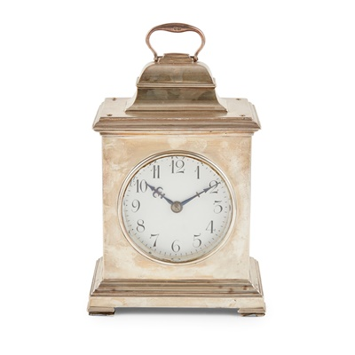 Lot 397 - A large silver cased mantle clock