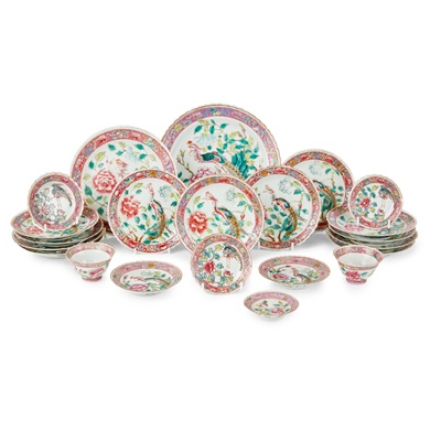Lot 188 - GROUP OF TWENTY-TWO STRAITS-CHINESE FAMILLE ROSE WARES