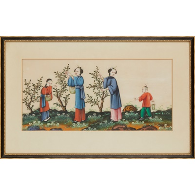 Lot 71 - GROUP OF FIVE PITH PAINTINGS