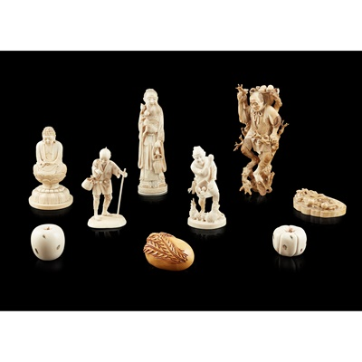 Lot 210 - GROUP OF EIGHT JAPANESE IVORY CARVINGS