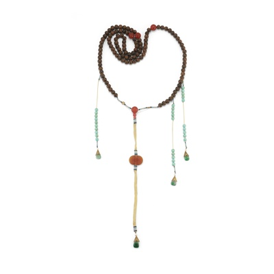 Lot 4 - AGARWOOD AND MULTI-GEMSTONE COURT NECKLACE AND ROSARY