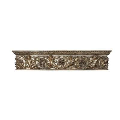 Lot 465 - SILVERED CARVED WOOD AND GESSO ARCHITRAVE