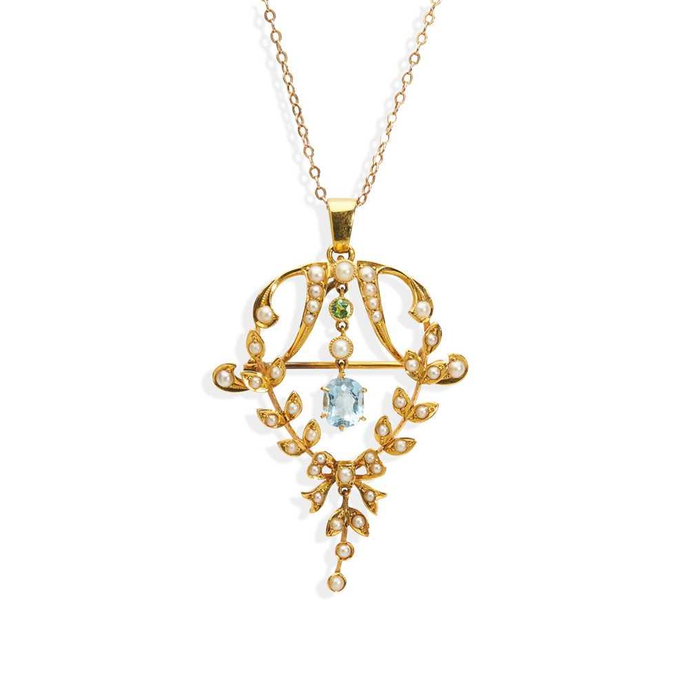 Lot 62 - An Edwardian multi-gem pendant