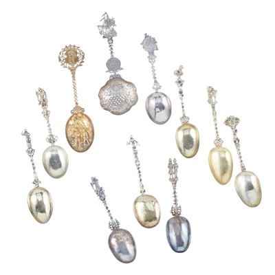 Lot 342 - A collection of 19th century silver and silver gilt Dutch fancy spoons
