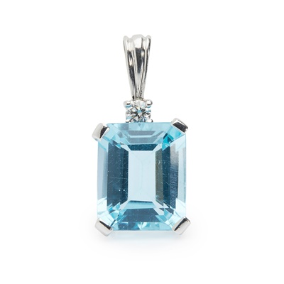 Lot 82 - A topaz and diamond pendant