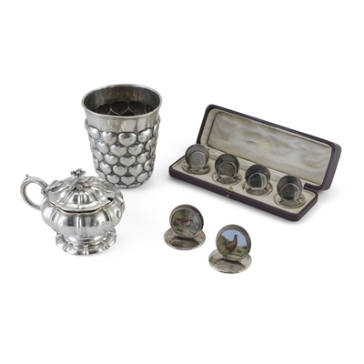 Lot 383 - A cased set of four menu holders