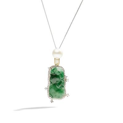Lot 20 - A jadeite jade, diamond and cultured pearl pendant necklace