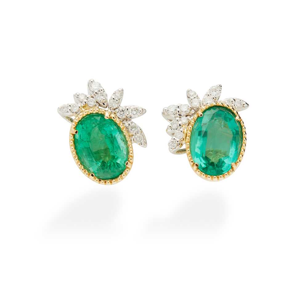 Lot 63 - A pair of emerald and diamond-set earrings