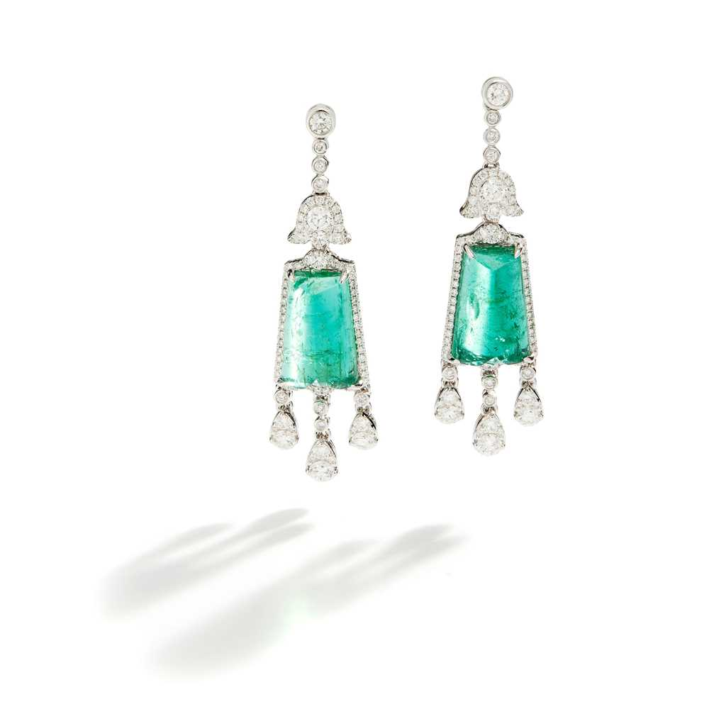 Lot 31 - A pair of emerald and diamond pendent earrings, by Fei Liu