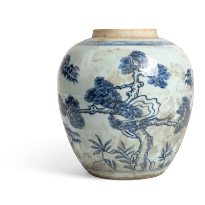 Lot 133 - BLUE AND WHITE 'THREE FRIENDS OF WINTER' GINGER JAR