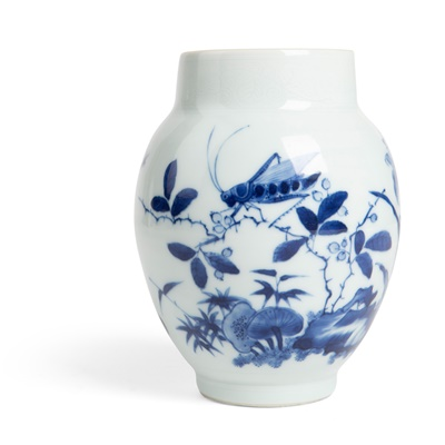 Lot 116 - BLUE AND WHITE 'CRICKET AND LILY' JAR