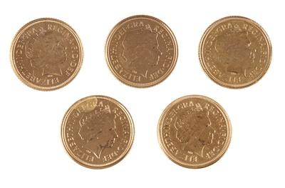 Lot 321 - G.B - Five proof half sovereigns