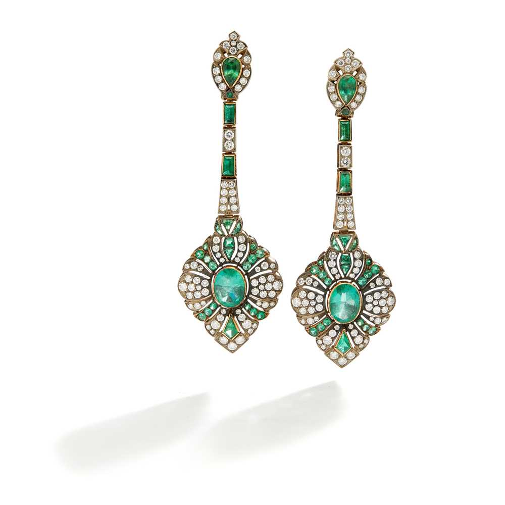 Lot 67 - A pair of emerald and diamond earrings