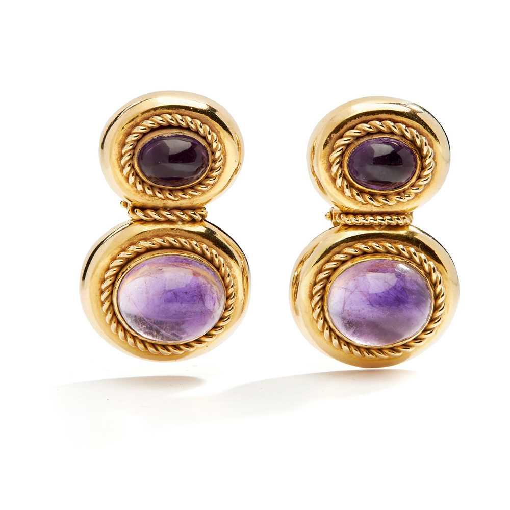 Lot 37 - A pair of amethyst earrings, by Kiki McDonough