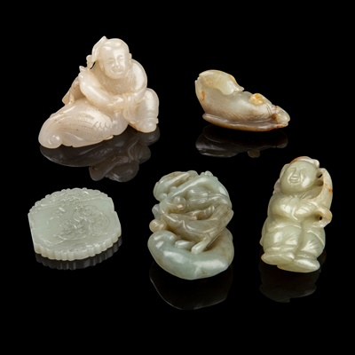 Lot 57 - GROUP OF FIVE JADE PIECES