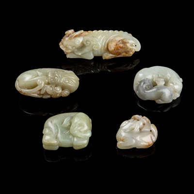 Lot 60 - GROUP OF FIVE JADE CARVINGS OF ANIMALS