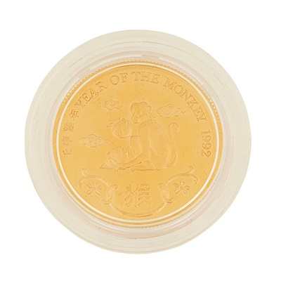 Lot 324 - Hong Kong – A year of the Monkey, 1992 proof gold medal