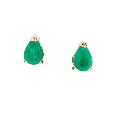 Lot 65 - A pair of emerald earrings