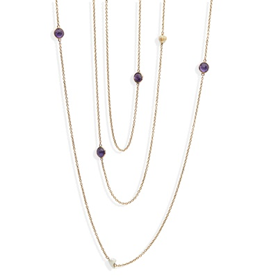 Lot 4 - An amethyst and pearl set long-chain
