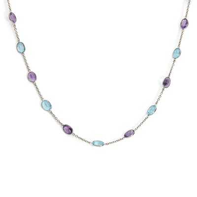 Lot 80 - A blue topaz and amethyst necklace, by Deakin & Francis