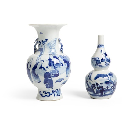 Lot 157 - TWO BLUE AND WHITE VASES