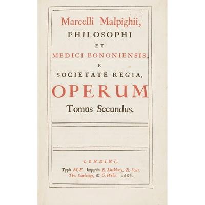 Lot 178 - Medicine, 3 volumes, comprising Malpighi, Marcello